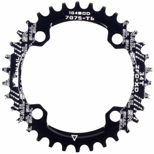SNAIL Single Tooth Narrow Wide Bike MTB Chainring 104BCD black 34T S1A6