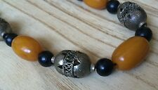 Vintage Butterscotch Amber Bead Silver Filagree Necklace