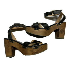 Bed-Stu-Size-10-Women-s-Madeline-Brown-Leather-Crisscross-Platform-Sandal-EUC