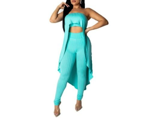USA Women Knitted Strapless Cloak Long Top+Bodycon Pants Two Piece Set Outfit