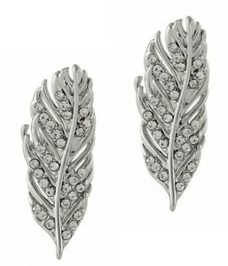 Rebecca-Minkoff-Feather-Drop-Earrings-Rhodium-Plated-Silver-Tone-NWT-58