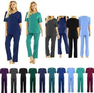 Unisex Scrubs Set Suit Uniform Hospital Doctor Nursing Medical Heathcar Workwear