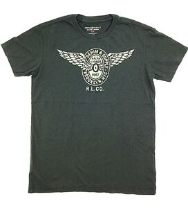 145-Ralph-Lauren-Men-Gray-White-1967-Wings-Graphic-Crew-Neck-T-Shirt-Tee-Size-L