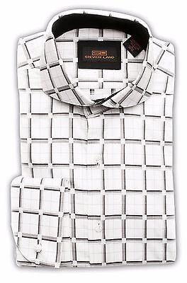 SL Men's Square Spread Collar Cotton French Cuff Trim Fit Shirt TA1622 WHT/BLK