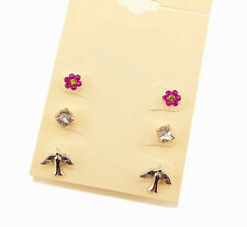 3 Pairs/Set Chic Birds Swallows Flower Crystal Girls Party Stud Earrings Jewelry