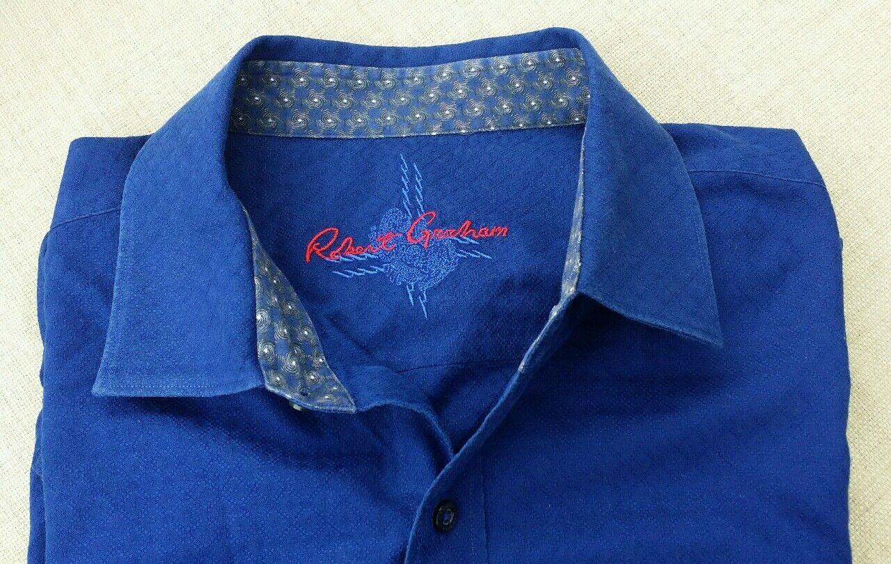 Raro Robert Graham Decorato Diamante Jacquard Spazzolato Camicia Blu 2XL