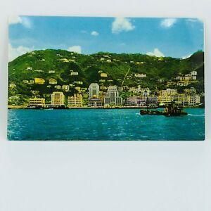 Postcard-Vtg-Hong-Kong-Waterfront-Banking-amp-Business-Centre-Buildings-Boat-A-15