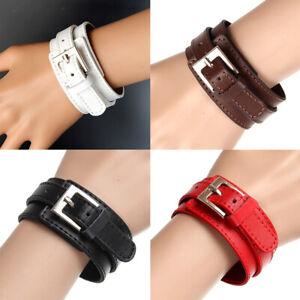 Modeschmuck Pu Kuh Leder Breite Stulpe Armband Snap Armreif Für Männer Frauen
