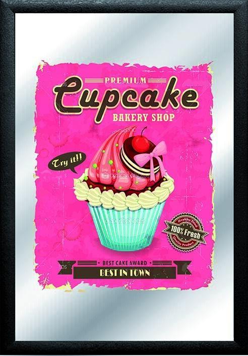 s l1600 - Cupcake Muffin Espejo de Pared, BAR, Salas de Fiesta, Pub, Nuevo