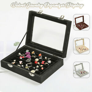 Glass-Velvet-Jewelry-Box-Ring-Display-Case-Organizer-Holder-Storage-Travel