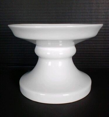 NEW GRACE PANTRY GLOSSY IRIDESCENT PEARLIZED WHITE CAKE PLATE PEDESTAL STAND