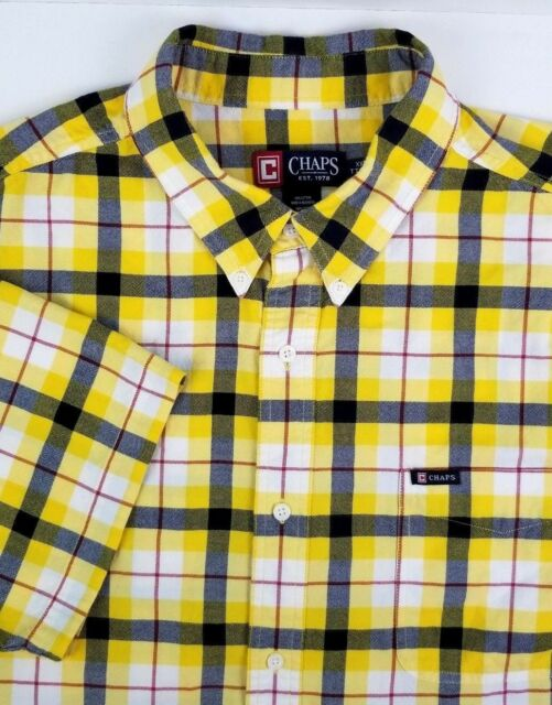 Chaps Short Sleeve Shirt Size XXL 2XL Yellow Black Red Plaid 100% Cotton
