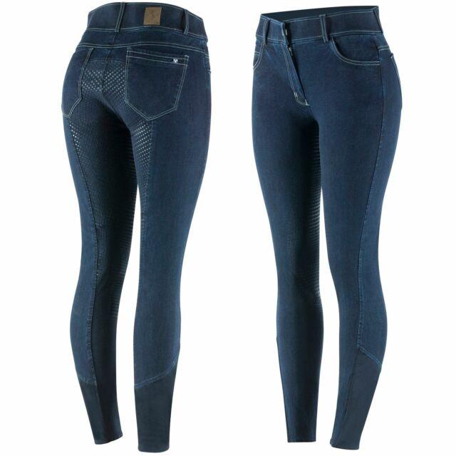 Reithose Denim Jeans Vollbesatz Covalliero Stiefelreithose dunkelblau