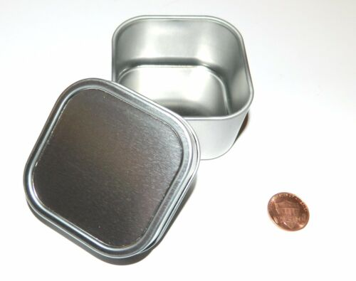 12 X 4-oz Square Slip On Lid Survival Metal Tin Can Container Box Kit Crafts Use