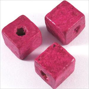 AgréAble 20 Perles Cubes En Bois 12mm Fuchsia à Vendre