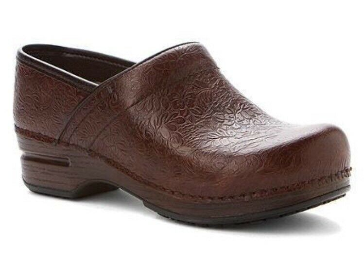 New! Donna's Dansko Tooled Brown Pelle Pro XP Clog Shoes- Size 42/ 11.5-12