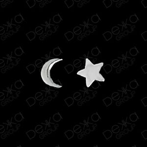 925-Sterling-Silver-Star-amp-Moon-Crescent-Stud-Earrings-Girls-Children-Women-Men