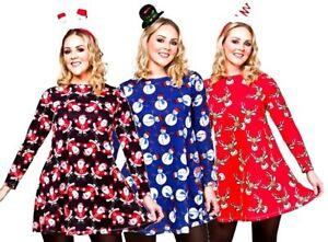 donna-Natale-Abito-Babbo-Natale-Pupazzo-di-neve-renna-Vestito-S-L