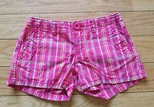 Girls-GAP-KIDS-Pink-Plaid-SHORTS-Sz-7-Adjustable-Waist