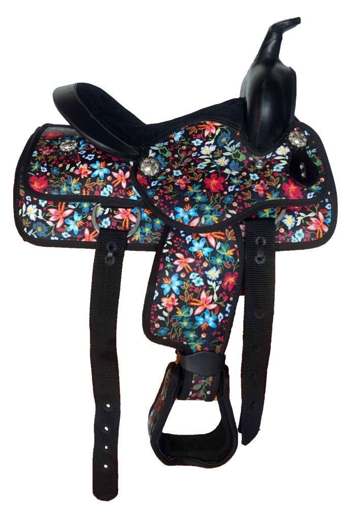 12  Western Sintético Mini Pony Silla Trial Ocio 4p Negro Floral Diseño Nuevo