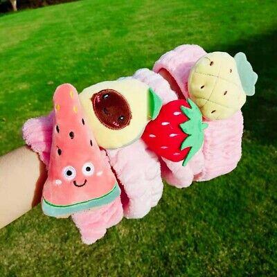 Strawberry Pineapple Plush Headband Soft Elastic Fruit Hairband Makeup Headwraps