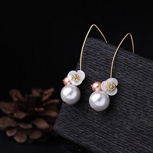 Boucles d Oreilles Doré Long Fleur Nacre Perle Blanc Rose Fin Retro ... 3443fabe0dc