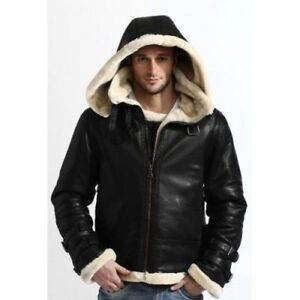 d6be93df8 Details about MENS B3 WINTER BOMBER SHEEPSKIN SHEARLING BLACK REAL LEATHER  HOODIE JACKET
