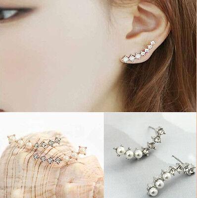 1 Pair Lady Women Ear Hook Plated Crystal Rhinestone Stud Ear Clip Earrings