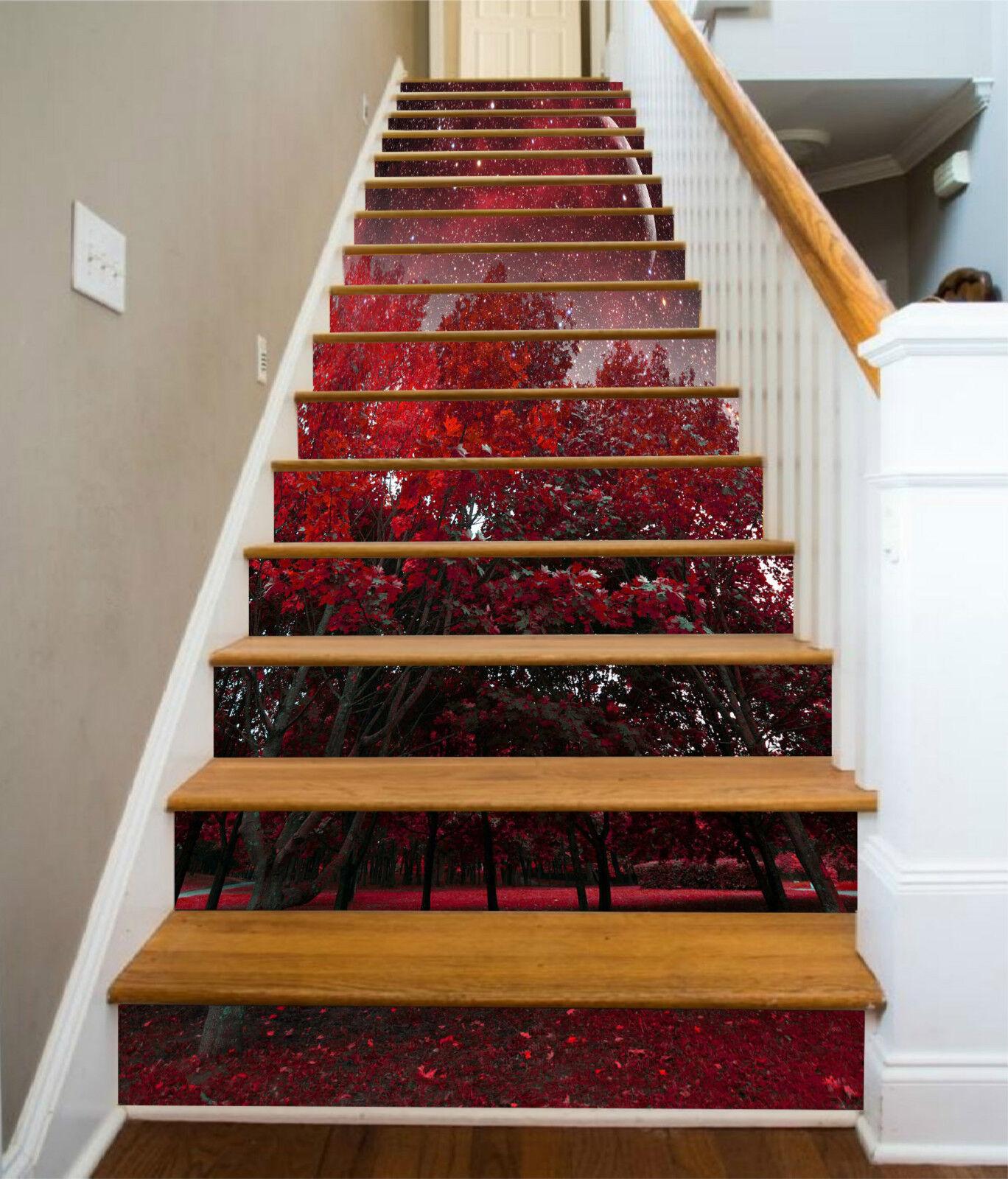 3D Roter Baum 024 Stair Risers Dekoration Fototapete Vinyl Aufkleber Tapete DE