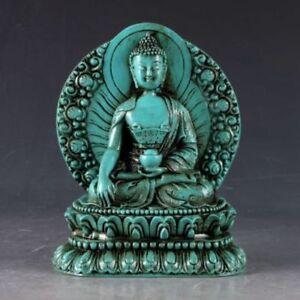 Collectible china Old Decorated Turquoise Carve Sakyamuni Medicine Buddha Statue