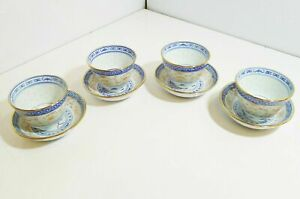 Set-of-4-Blue-Orange-and-Gold-Made-in-China-Tea-Cups-and-Saucers