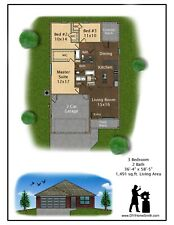 and PDF files for Custom Home House Plan 1,195 SF Blueprint Plans CAD DWG