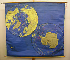 Schulwandkarte schöne alte Australien Nordpol Südpol 175x158cm vintage map ~1960