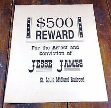Jesse James Old West Bank Robber $500 Reward Wanted Poster St Louis RR Railroad