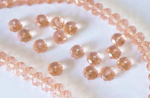 8mm x 6mm 25 Crystal Rondelle Abacus Glass Beads  Peach Pink