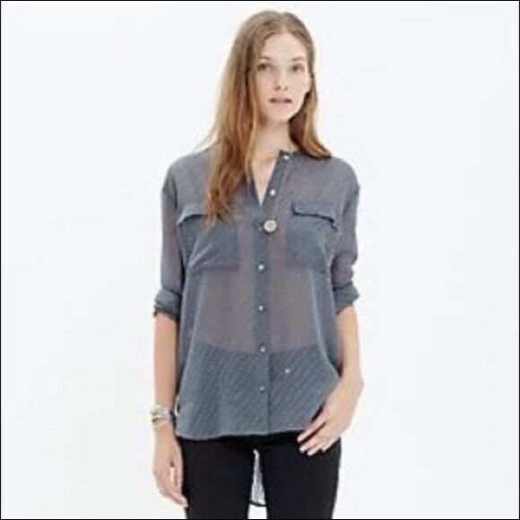 Madewell Ice Leaf Top Sz S Sheer Dot Button Front Pocket Long Slv Gray EUC  B20
