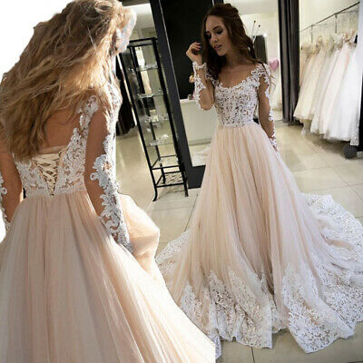 Champagne Wedding Dresses Lace Applique Long Sleeves V-neck Bridal Gown Custom