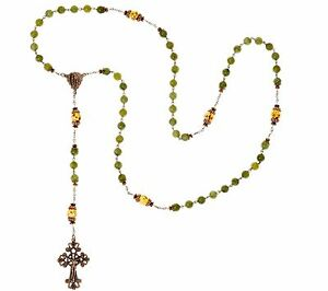 CONNEMARA-MARBLE-BRONZETONE-YELLOW-GLASS-BEADED-24-1-2-034-ANTIQUED-ROSARY-NECKLACE