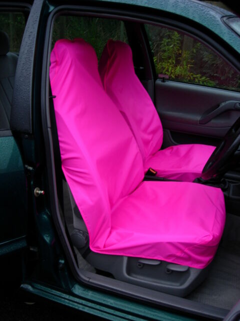 Pair of Bright Pink Waterproof Car / Van Universal Front Seat Covers