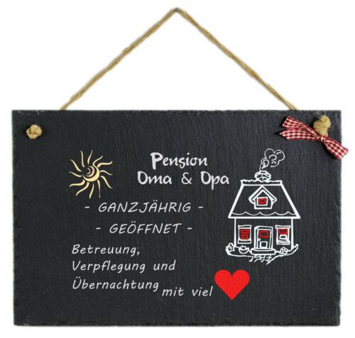 Schild m Spruch witzig Pension Oma Opa Schiefertafel bedruckt Mod.2 Hängeschild