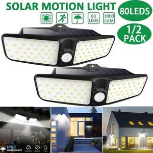 2X-80LED-Solar-Power-PIR-Motion-Sensor-Wall-Light-Outdoor-Garden-Lamp-Waterproof