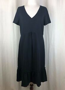 Boden-Solid-Black-Ruffle-Hem-Cotton-V-Neck-Dress-US-Size-12