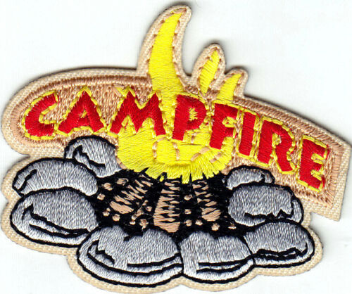 "/""CAMPFIRE/"" Iron On Patch Camping Scouts Cub Boy Girl Outdoors Vacation"