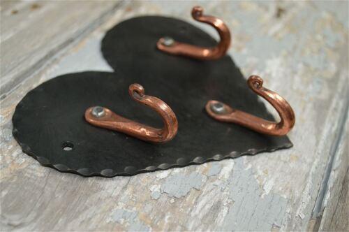Bellas Artes y artesanías de estilo en hierro forjado corazón De Cobre Con Ganchos clave Gancho