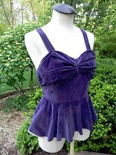 1930's & '40's women's vintage purple cotton velvet suspenders peplum bodice