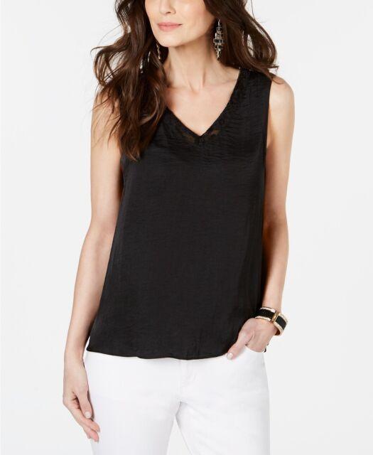 Thalia Sodi Women's Lace-Trim V-Neck Tank Top Black Size Extra Large