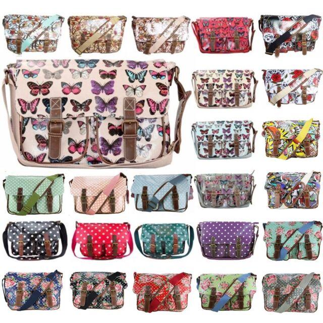 Ladies Designers Oilcloth Cross Body Messenger Saddle Bag School Satchel Handbag