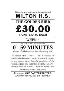 60 tickets - Pigeon Race Time Tickets - Golden Bird Tickets - Fundraising