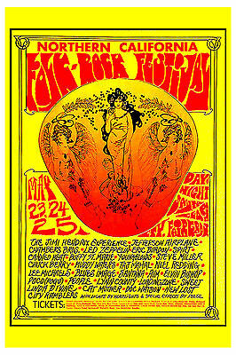 Jimi Hendrix & Led Zeppelin at Folk-Rock Festival  Concert Poster Circa 1969