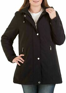 Size 14 Womens Black Parka Coat Long Jacket Parker Padded Quilt Girls Ladies